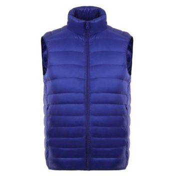 Man Thin Light Waistcoat Vest Down Coat Plus Size   blue