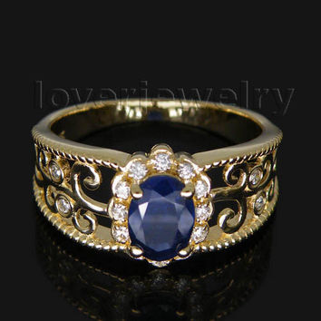 hot selling oval 5x7mm blue sapphire ring with diamonds men solid 14kt yellow gold wu018