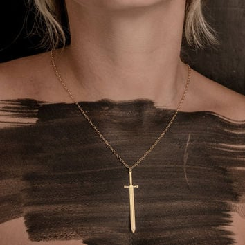Gold Sword Pendant Necklace Viking Sword Jewelry Sword Necklace Gladiator Weapon Unisex Pendant Beep Studio Silver Sword Long Minimalist