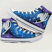 Fairy Tail Anime Lacing Up Ankle Sneakers Purple Cosplay Canvas Shoes