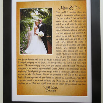 Personalized Thank You Gift for Parents of Bride Groom: Father of Bride Gift Mother of Bride Gift Unique Wedding Gift Custom Print Art 11x14