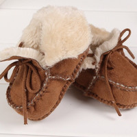 Suede Plush Baby Booties