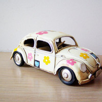 Hippie Beetle car miniature with hearts and flower