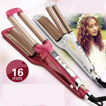 Brand new styling tools 3 barrels Hair Rotating Curler triple barrel flat iron Barrels for Waves and Curls free shipping