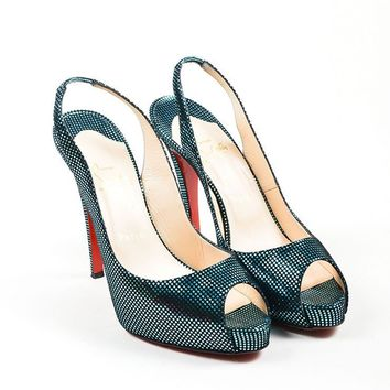 HCXX Turquoise Suede Christian Louboutin   No Prive 120   Peep Toe Pumps