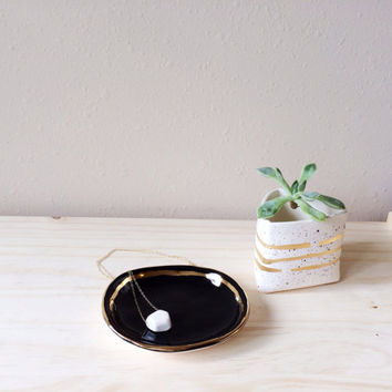 SECONDS Black Jewelry Dish with Gold - White and Gold Decor - Ring Dish - Gold Ceramic Dish