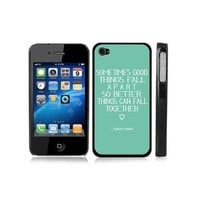 Marilyn Monroe Quote Love Turquoise BLACK Snap-On iPhone Cover Carrying Hard Plastic Case for iPhone 4/4S