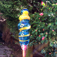 Hand Blown Glass Yard Art.  Blown Glass Garden Decor.  OOAK Hand Blown Yard Decor in Aqua, Yellow.