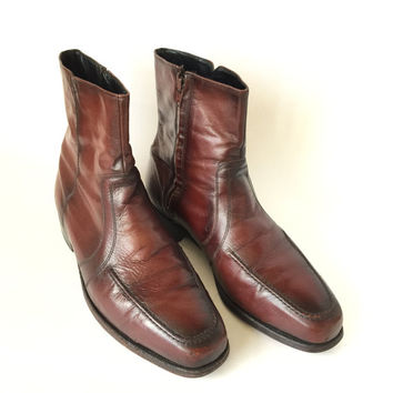 Florsheim Cordovan Oxblood Ankle Boots Mens Vintage Leather Size 10 Side Zipper