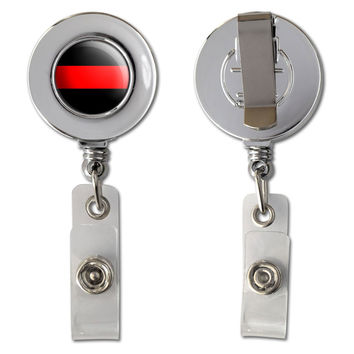 Thin Red Line Firefighters Retractable Reel Chrome Badge ID Card Holder
