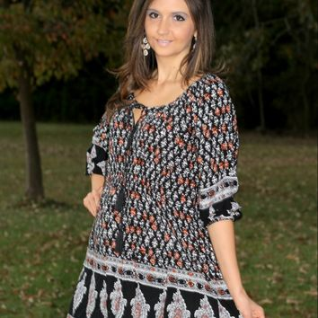 Jodifl Black, Gray, and Rust Printed Tunic Dress with Paisley Design