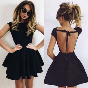 Fashion Ladies Backless Dress (2 colors) [9535645316]