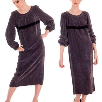 Vintage 1970s Vuokko Suomi Finland Designer Purple Velvet Mid Calf Length Dress S