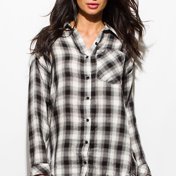 BLACK PLAID PRINT FLANNEL LONG SLEEVE FRAYED HEM BUTTON UP BLOUSE TUNIC TOP