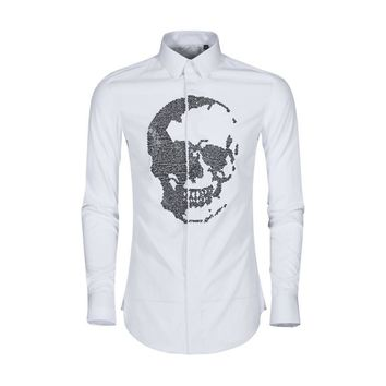 Crystal skull Shirt men Cotton long sleeve Slim Casual dress shirt