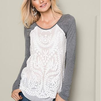 Embroidered Layered Top in Charcoal Heather Grey | VENUS