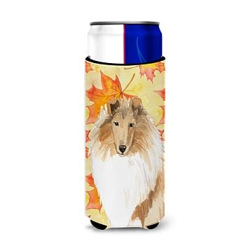 Fall Leaves Rough Collie Michelob Ultra Hugger for slim cans CK1830MUK