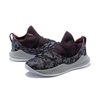 Under Armour Curry 5 Purple Camo Gray Red Men Sneaker