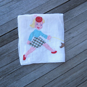 Unusual Vintage Novelty Hankie; Girl Walking Dog - Fashionista with Puppy Applique Hankie - Dog Lover Gift - Retro Girl Gift Hankie