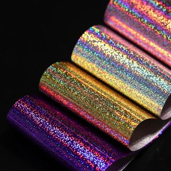 1 Roll 4*100cm Holographic Nail Foils Starry Glitter Nail Art Transfer Foil Transfer Sticker Paper Gold Silver Purple Rose Gold