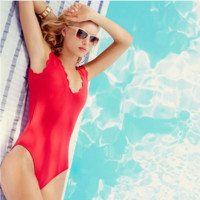 Fashion sexy hot scalloped vest type one piece bath suit Red