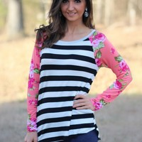 High Low Black and White Stripe Top with Coral and Fuchsia Floral Printed Sleeves by Wanna B