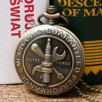 Bronze Vintage Car Crew Tool Mechanic Guaranteed Performance Super Tuned Quartz Analog Pocket Watch with Necklace Chain Gift