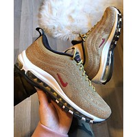 Nike Air Max 97 LX Swarovski Gold Fashion Running Sneakers Sport Shoes