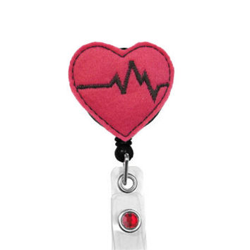 EKG Heart - Cardiac Nurse Badge Pull - Cute Badge Reels - Unique Retractable ID Badge Holder - Felt Badge Reel - RN Badge