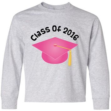 Inktastic Big Boys' 2016 School Class Pink Graduation Youth Long Sleeve T-Shirt Youth Medium Ash Grey
