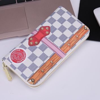 Louis Vuitton Fashion Print Lock Buckle LV Women Men Wallet Zipper B-OM-NBPF Full Color White(khaki stripe)