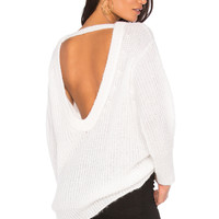 Nude Large Round Neck Open Back Sweater in Off White