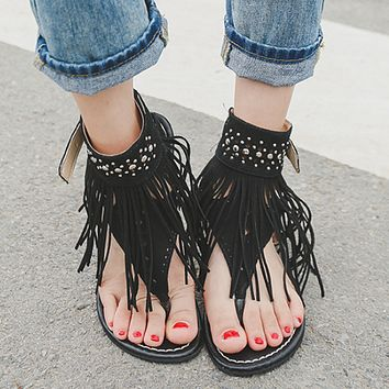 Female tassel open toe rhinestone flip flops flat sandals Black