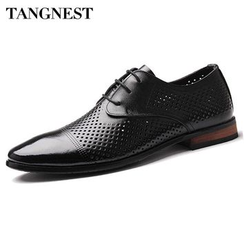 Tangnest Breathable Men's Classic Pointed Men Leather Shoes