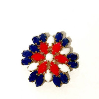 Red white And Blue Brooch, Patriotic Jewelry, Mid Century, Marquis Glass Stones, Gold Tone, Domed Open Setting, Prong Set, Vintage 1960s