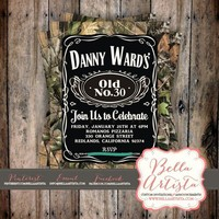 Real Tree Camouflage, Jack Daniels Birthday Invite, Baby Shower, Camo