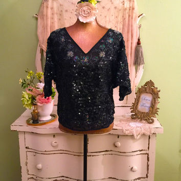 Bohemian Beaded Top, Ornate Sequin Blouse, V Neck Blouse, ML/L, Black Party Top, Aurora Borealis Rhinestone Beaded Blouse, Unique Boho Top