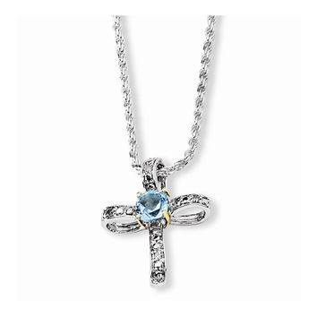 Sterling Silver & 14k Gold Sky Blue Topaz and Diamond Necklace