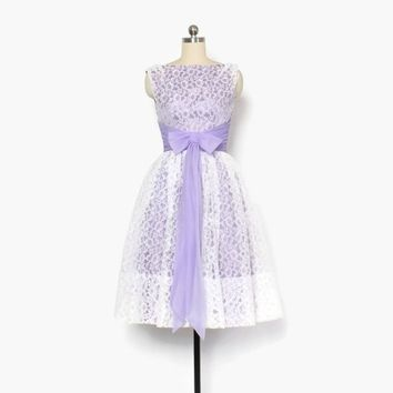 Vintage 50s Party DRESS / 1950s Lavender Chiffon & White Lace Full Skirt Cupcake Dress XS