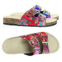 Defeat14 Red Embroidery By Bamboo, Molded Footbed, Casual Slide In 2 strap Cork Platform Flat Sandal