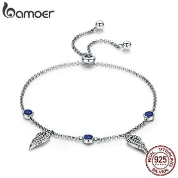 BAMOER New Arrival 925 Sterling Silver Fairy Wings Feather Chain Link Women Bracelets for Women Fashion Silver Jewelry SCB069