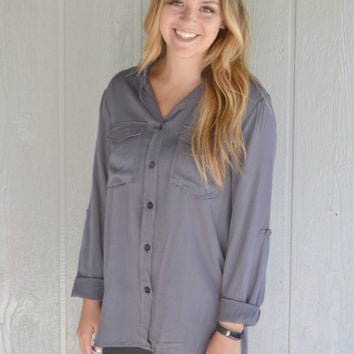In the Know Button Up Top: Grey