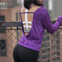 Sport Workout T-shirt Women Yoga Top Fitness Gym Shirt Women Sexy Hollow-out Design One-Neck Breathable Quick Dry  B029