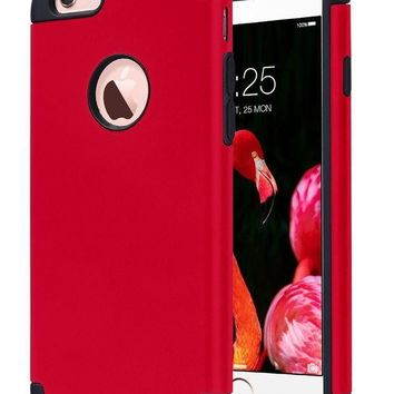 Iphone 6s Caseiphone 6 Case Ulak Slim Dual Layer Soft Silicone & Hard Back Cover Bumper Protective Shock Absorption & Skid Proof Anti Scratch Hybrid Case For Apple Iphone 6 / 6s 4.7 Inch Red/black