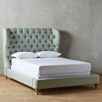 Linen Tufted Wingback Bed by Anthropologie