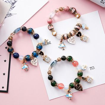 Bohemia Ethnic Style Sweet  Girl Alice In Wonderland Clock Love Letter Lock Beads Bracelet for Women Fashion Jewelry Accessories