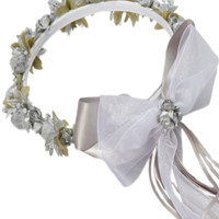 Silver Floral Crown Wreath Handmade with Silk Flowers, Satin Ribbons & Bows (Girls)