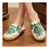 Flax Embroidered Old Beijing Cloth Shoes  green