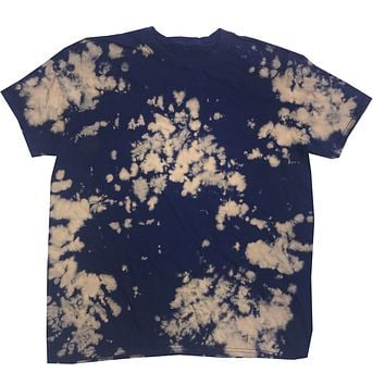 Bleach Out Tie Dye Shirt Colorful Navy T-Shirt