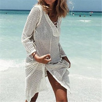New Arrivals Sexy Beach Cover up Crochet White Swimwear Dress Ladies Bathing Suit Cover ups Beach Tunic Saida de Praia #Q188